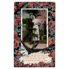 Vintage German Postcard - Old Valentine Postcard with Lovelorn Poem and Roses
