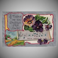 Vintage German Postcard with Flowers - Thinking of You with Pansies