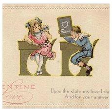 Vintage Postcard - Old Valentine Postcard with School Children