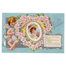 Vintage Postcard - Old Valentine Postcard with a Cherub and Floral Heart