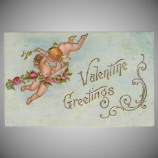 Vintage Postcard - Old Valentine Postcard with Hugging Cupids and Roses