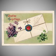 Vintage Postcard - Old Valentine Postcard with Violets and Shamrocks
