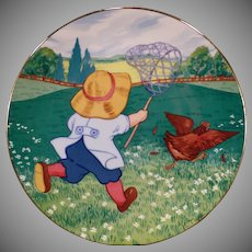 Vintage Blue-Button Twins Plate - Bobby and the Rooster – Helene Nyce