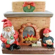 Vintage Christmas Candle Lamp – Old Santa Claus and Elf Fireplace Candle Holder