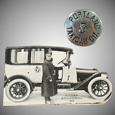 Vintage Taxi Driver's Hat Badge with Original Rate Card - Portland Taxicab Company