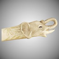 Vintage Celluloid Letter Opener - Old Letteropener with Elephant Head Design