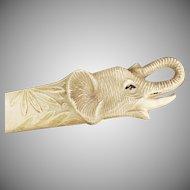 Vintage Celluloid Letter Opener - Old Letteropener with Elephant Head Design