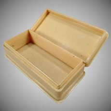 Vintage Vegetable Ivory Dresser Box with Hinged Lid – Made in England