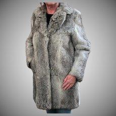 Ladies Vintage Fur Coat - Old Rabbit Fur Jacket - Pretty Silver Colored