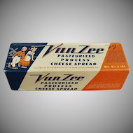 Vintage Cheese Box- Old Van Zee Cheese Box with Dutch Skaters