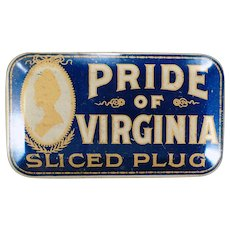 Vintage Tobacco Tin – Old Pride of Virginia Sliced Plug Tin - Very Nice Condition