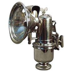 Vintage Carbide Bicycle Lamp - Old Riemann with Original Bracket  - Etched Lens