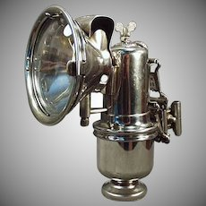 Vintage Carbide Bicycle Lamp - Old Riemann with Original Bracket  - Etched Lens