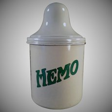 Vintage Malt Canister - Thompson's Hemo - Old Porcelain Malt Canister with Lid