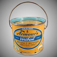 Vintage Armour's Peanut Butter Pail Tin - 12oz. - Colorful Mother Goose Graphics
