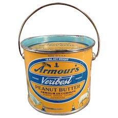 Vintage Armour's Peanut Butter Pail Tin - 12oz. - Colorful Mother Goose Graphics