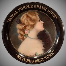 Vintage Advertising Tip Tray – Old Royal Purple Grape Juice Advertising -1907