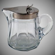 Vintage Sanitary Syrup Pitcher - Old Heisey Glassware - #353 5oz Pitcher with Metal Lid