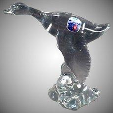 Vintage Heisey Glass Figurine – Mallard Duck, Wings Down – Original Paper Label