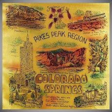 Vintage Souvenir Pillow Cover - Pikes Peak-Colorado Springs