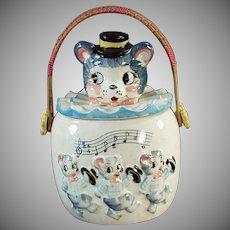 Vintage Cookie Jar - Very Cute Animals with Wicker Handle