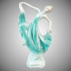 Vintage Figurine - Woman in Flowing Gown - Old Canadian Souvenir