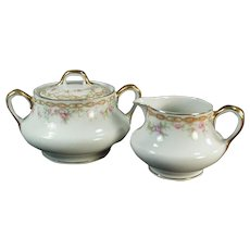 Vintage Limoges Porcelain Cream and Sugar Set - L. Bernardaud & Co.