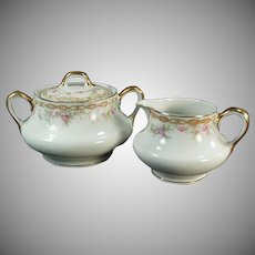 Vintage Limoges Porcelain Cream and Sugar Set - L. Bernardaud & Co.