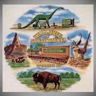 Vintage Souvenir Plate - Infamous Wall Drug of South Dakota - Dinosaur & Flying Jackalope