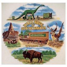 Vintage Wall Drug of South Dakota Souvenir Plate - Dinosaur & Flying Jackalope