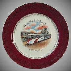 Vintage Souvenir Plate - Pikes Peak Colorado Streamline Cog Train