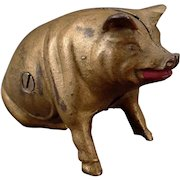 Vintage Cast Iron Pig Bank – Old Still Piggy Penny Bank