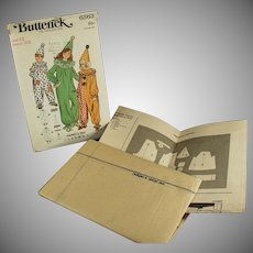 Vintage Halloween Costume Pattern - Old Butterick #6363 Size 12 Clown Outfits