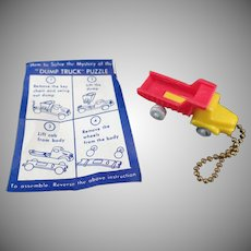 Vintage Puzzle Key Chain - Little Dump Truck with Original Instructions