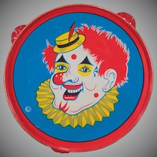Vintage Tambourine Toy - Brightly Colored Tin Noise Maker - Funny Clown with Red Hair