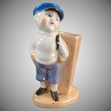 Vintage Toothbrush Holder - Little Boy in Knickers - Old Lusterware