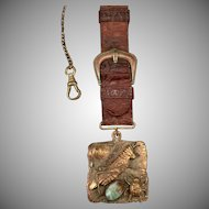 Vintage Pocket Watch Chain – With Decorative Fob – Grasshopper and Lady Bug