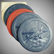 Vintage Poker Chips - Seven (7) Old Clay Chips with Airplane Design