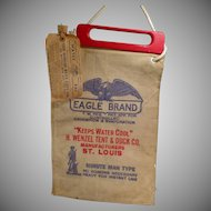 Vintage Radiator Water Bag - Old Eagle Brand Water Bag with Wood Handle & Original Label