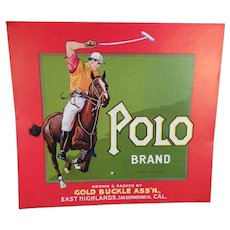 Vintage Crate Label – Polo Brand Fruit Crate Label – California Gold Buckle