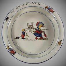 Vintage Baby's Plate - Wellsville China, Mother Goose Nursery Rhyme Decals