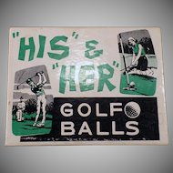 Vintage Joke Box – His and Her Golf Balls – Golfer Gag Gift