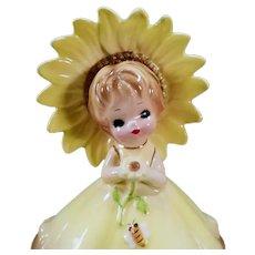 Vintage Josef Original – Little Sunflower Girl with Bumble Bee
