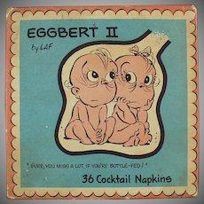 Vintage Cocktail Napkins - Eggbert the Talking Embryo - 1961