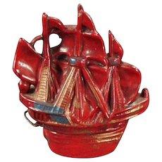 Vintage Tape Measure - Old Figural Celluloid Tape Measure - Sailing Ship
