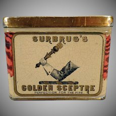 Vintage Tobacco Tin- Old Surbrug's Golden Sceptre - Old Advertising Tin with Scepter Graphics