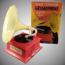 Vintage Music Box Toy - Old Timer Gramophone with Original Box