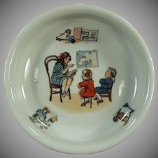 Vintage Baby Plate - Teacher and Children -  Geography Lesson - Germany