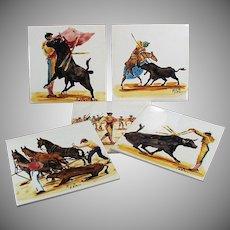 Set of Five Vintage Art Tiles - Beautiful Bullfighting Scenes - Made in England