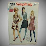 "Vintage Simplicity #7808 Pattern - 1960's Mod Skirt & Vest - Miss 8 - Bust 31 1/2"""